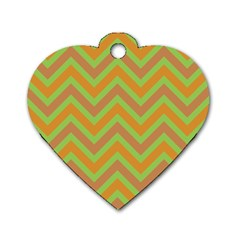 Zig Zags Pattern Dog Tag Heart (one Side) by Valentinaart