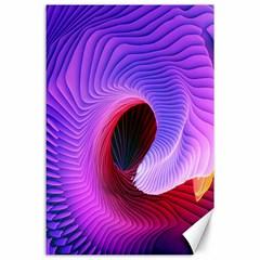 Digital Art Spirals Wave Waves Chevron Red Purple Blue Pink Canvas 24  X 36  by Mariart