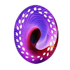 Digital Art Spirals Wave Waves Chevron Red Purple Blue Pink Ornament (oval Filigree) by Mariart