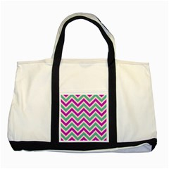 Zig Zags Pattern Two Tone Tote Bag by Valentinaart