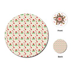 Flower Floral Sunflower Rose Star Red Green Playing Cards (round)  by Mariart