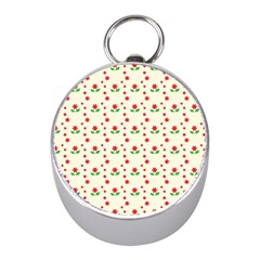 Flower Floral Sunflower Rose Star Red Green Mini Silver Compasses by Mariart
