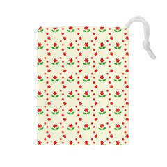 Flower Floral Sunflower Rose Star Red Green Drawstring Pouches (large)  by Mariart