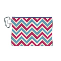 Zig Zags Pattern Canvas Cosmetic Bag (m) by Valentinaart