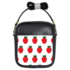 Fruit Strawberries Red Green Girls Sling Bags by Mariart