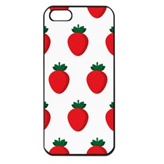 Fruit Strawberries Red Green Apple Iphone 5 Seamless Case (black) by Mariart