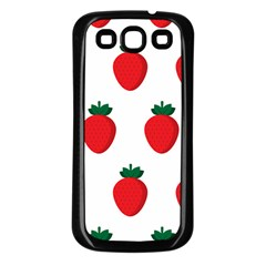 Fruit Strawberries Red Green Samsung Galaxy S3 Back Case (black) by Mariart