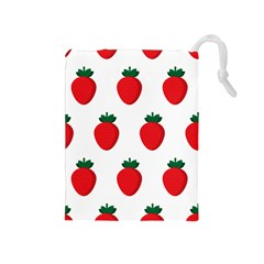 Fruit Strawberries Red Green Drawstring Pouches (medium)  by Mariart