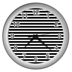 Horizontal Stripes Black Wall Clocks (silver)  by Mariart