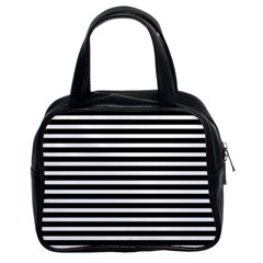 Horizontal Stripes Black Classic Handbags (2 Sides) by Mariart