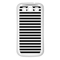Horizontal Stripes Black Samsung Galaxy S3 Back Case (white) by Mariart