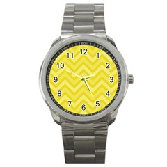 Zig Zags Pattern Sport Metal Watch by Valentinaart