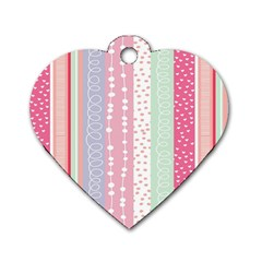 Heart Love Valentine Polka Dot Pink Blue Grey Purple Red Dog Tag Heart (two Sides) by Mariart