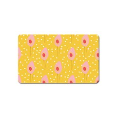 Flower Floral Tulip Leaf Pink Yellow Polka Sot Spot Magnet (name Card) by Mariart