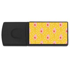 Flower Floral Tulip Leaf Pink Yellow Polka Sot Spot Usb Flash Drive Rectangular (4 Gb) by Mariart