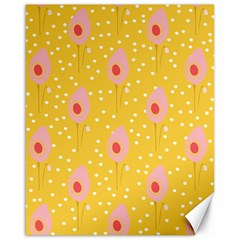 Flower Floral Tulip Leaf Pink Yellow Polka Sot Spot Canvas 16  X 20   by Mariart