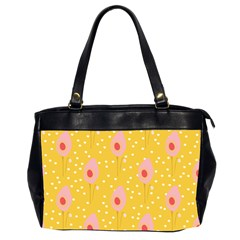 Flower Floral Tulip Leaf Pink Yellow Polka Sot Spot Office Handbags (2 Sides)  by Mariart