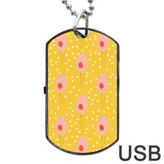 Flower Floral Tulip Leaf Pink Yellow Polka Sot Spot Dog Tag Usb Flash (one Side) by Mariart