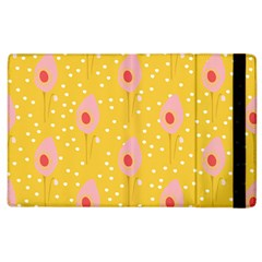 Flower Floral Tulip Leaf Pink Yellow Polka Sot Spot Apple Ipad 2 Flip Case by Mariart