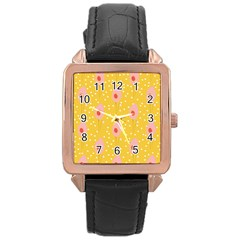 Flower Floral Tulip Leaf Pink Yellow Polka Sot Spot Rose Gold Leather Watch  by Mariart