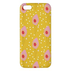 Flower Floral Tulip Leaf Pink Yellow Polka Sot Spot Apple Iphone 5 Premium Hardshell Case by Mariart