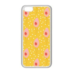 Flower Floral Tulip Leaf Pink Yellow Polka Sot Spot Apple Iphone 5c Seamless Case (white) by Mariart