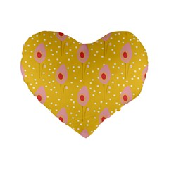 Flower Floral Tulip Leaf Pink Yellow Polka Sot Spot Standard 16  Premium Flano Heart Shape Cushions by Mariart