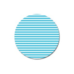 Horizontal Stripes Blue Magnet 3  (round) by Mariart