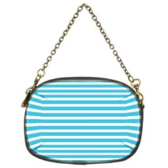 Horizontal Stripes Blue Chain Purses (two Sides)  by Mariart