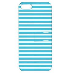 Horizontal Stripes Blue Apple Iphone 5 Hardshell Case With Stand by Mariart