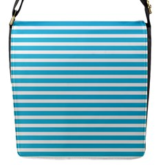Horizontal Stripes Blue Flap Messenger Bag (s) by Mariart