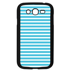 Horizontal Stripes Blue Samsung Galaxy Grand Duos I9082 Case (black) by Mariart