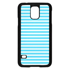 Horizontal Stripes Blue Samsung Galaxy S5 Case (black) by Mariart