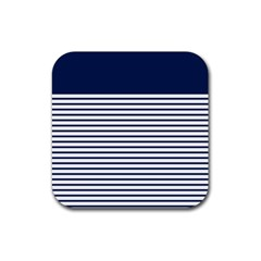 Horizontal Stripes Blue White Line Rubber Square Coaster (4 Pack)  by Mariart