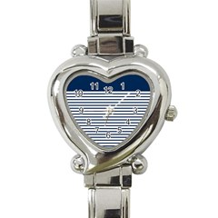 Horizontal Stripes Blue White Line Heart Italian Charm Watch by Mariart