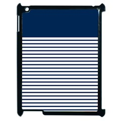 Horizontal Stripes Blue White Line Apple Ipad 2 Case (black) by Mariart