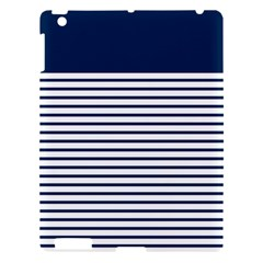 Horizontal Stripes Blue White Line Apple Ipad 3/4 Hardshell Case by Mariart