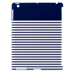 Horizontal Stripes Blue White Line Apple Ipad 3/4 Hardshell Case (compatible With Smart Cover) by Mariart