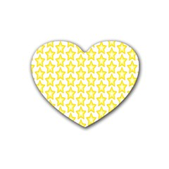 Yellow Orange Star Space Light Rubber Coaster (heart)  by Mariart