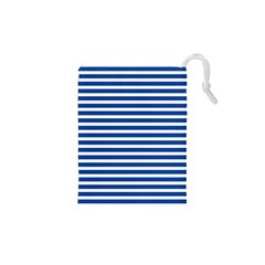 Horizontal Stripes Dark Blue Drawstring Pouches (xs)  by Mariart