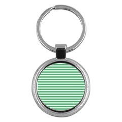 Horizontal Stripes Green Key Chains (round)  by Mariart