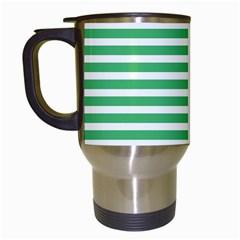 Horizontal Stripes Green Travel Mugs (white) by Mariart