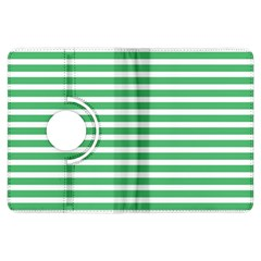 Horizontal Stripes Green Kindle Fire Hdx Flip 360 Case by Mariart