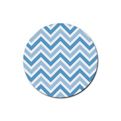 Zig Zags Pattern Rubber Round Coaster (4 Pack)  by Valentinaart