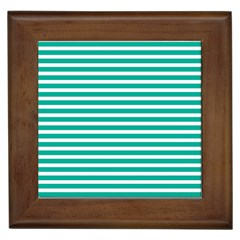 Horizontal Stripes Green Teal Framed Tiles by Mariart