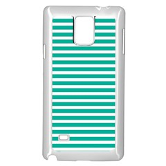 Horizontal Stripes Green Teal Samsung Galaxy Note 4 Case (white) by Mariart