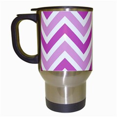 Zig Zags Pattern Travel Mugs (white) by Valentinaart