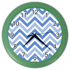 Zig Zags Pattern Color Wall Clocks by Valentinaart