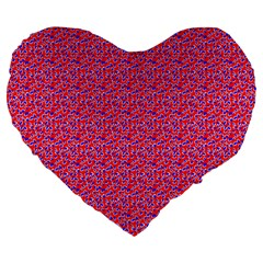 Red White And Blue Leopard Print  Large 19  Premium Heart Shape Cushions by PhotoNOLA