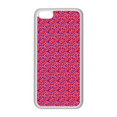 Red White And Blue Leopard Print  Apple Iphone 5c Seamless Case (white) by PhotoNOLA